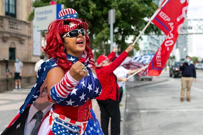 Suzy 'La Diva for Trump' Taylor attends a protest at the Freedom Tower in downtown Miami on Saturday, Jan. 16, 2021.