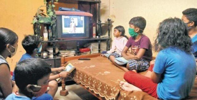 Classes taking place through television in Kerala.