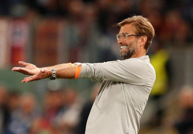 Soccer Football - Champions League Semi Final Second Leg - AS Roma v Liverpool - Stadio Olimpico, Rome, Italy - May 2, 2018 Liverpool manager Juergen Klopp reacts Action Images via Reuters/John Sibley