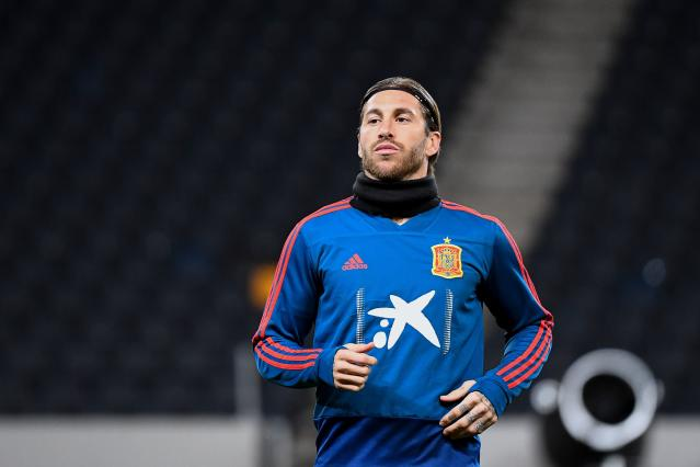 Spain's defender Sergio Ramos takes part in a training session on the eve of the UEFA Euro 2020 qualifier Group F football match Sweden v Spain on October 14, 2019 in Solna, Sweden. (Photo by Jonathan NACKSTRAND / AFP) (Photo by JONATHAN NACKSTRAND/AFP via Getty Images)
