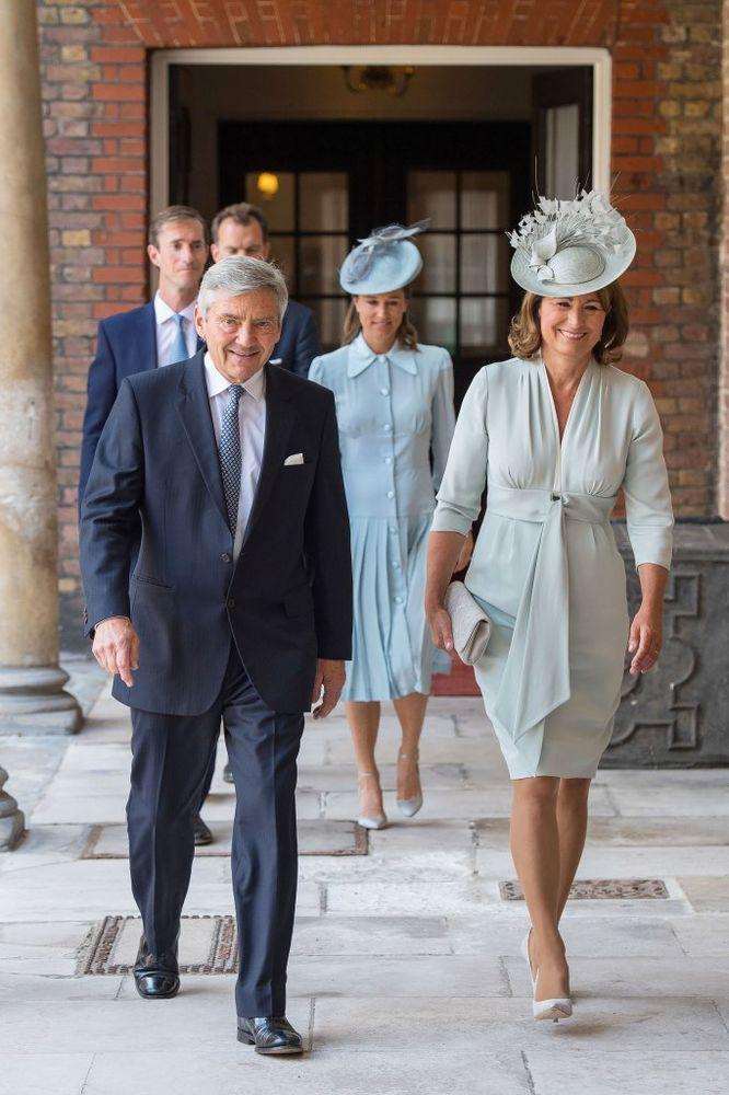 Carole Middleton (front, with husband Michael) in a Botterill hat at Prince Louis's christening in July.