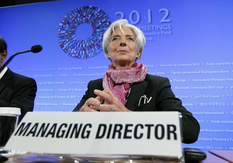 International Monetary Fund (IMF) Managing Director Christine Lagarde speaks during a news conference at the World Bank/IMF Spring Meetings at IMF headquarters in Washington Saturday, April, 21, 2012. (AP Photo/Jose Luis Magana)