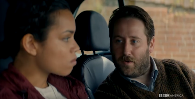 Convicted rapist Aaron Mayford (Jim Howick) surprises DC Katie Harford (Georgina Campbell) on a stakeout. (Credit: BBC America)