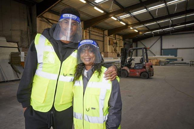 England football Marcus Rashford visiting FareShare Greater Manchester with his mother