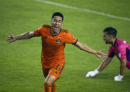Houston Dynamo FC midfielder Memo Rodriguez (8) celebrates after scoring a goal against the San Jose Earthquakes during the first half of an MLS soccer game at BBVA Stadium on Friday, April 16, 2021, in Houston. (Godofredo A. Vásquez/Houston Chronicle via AP)
