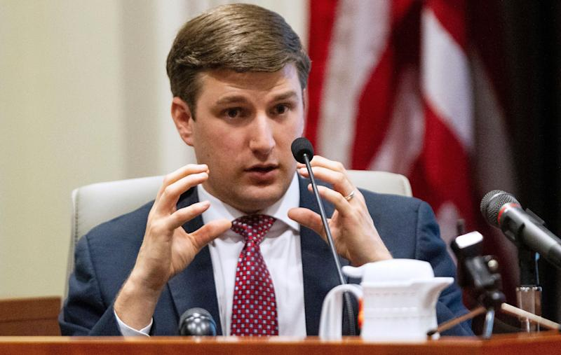 John Harris, the son of Mark Harris, testifies during the third day of a public evidentiary hearing on the 9th Congressional District voting irregularities investigation Wednesday, Feb. 20, 2019, at the North Carolina State Bar in Raleigh. (Travis Long/The News & Observer via AP, Pool)