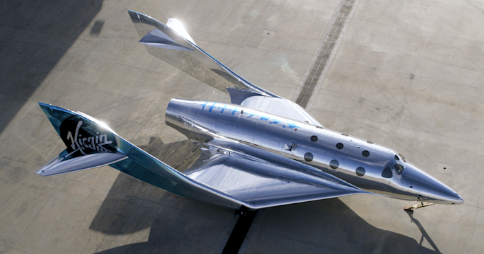 The design is a combination of a traditional airplane and something from a science fiction movie.