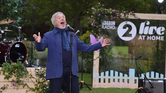 Sir Tom Jones belted out the hits in a near-empty garden