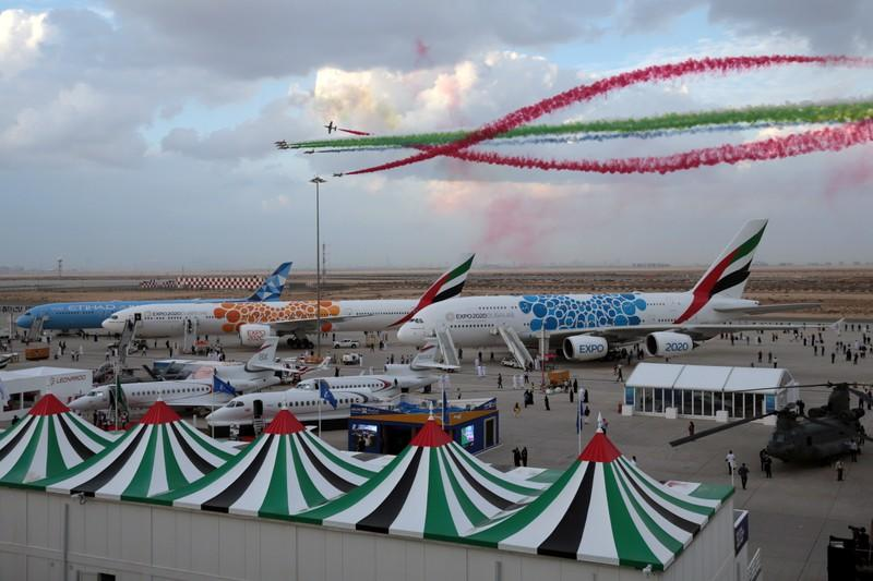 United Arab Emirates' Al Fursan perform during the fifth day of Dubai Air Show in Dubai