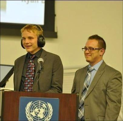 Nealjoined his mother at a United Nations autism conference. (Courtesy of Elaine Hall)