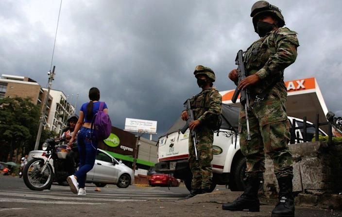 Colombian military guard the streets of Cali after violent day of protests