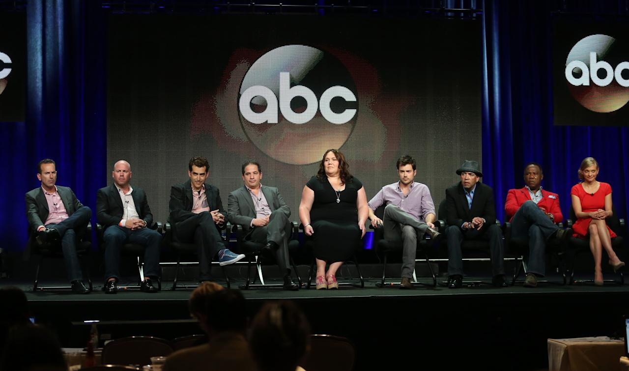 "BEVERLY HILLS, CA - AUGUST 04: (L-R) Executive producers Darryl Frank, Justin Falvey, Jason Richman, David Zabel, actors Lorraine Bruce, Matt Long, Luis Antonio Ramos, Isiah Whitlock Jr., and Anastasia Phillips speak onstage during the ""Lucky 7"" panel discussion at the Disney/ABC Television Group portion of the Television Critics Association Summer Press Tour at the Beverly Hilton Hotel on August 4, 2013 in Beverly Hills, California. (Photo by Frederick M. Brown/Getty Images)"