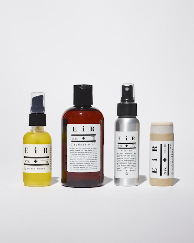 "<p>This hip brand's natural products really work, head-to-toe. The Hair and Beard Oil contains Argan Oil to keep locks soft, but can also be used as a face moisturizer. The Sunset Oil is great post-round to restore dad's skin. It's infused with aloe and coconut oil to soothe sunburn and the arnica in it will help sore muscles. Dad will love the Fresh EIR spray because it is a 3-in-1 deodorizer. It acts as a odor eliminator, hand sanitizer and gear freshener. And last but not least, keep dad fresh with The Pitted Deodorant, which is made with arrowroot and essential oils and is great for travel.</p> <p><strong><a href=""https://www.amazon.com/EiR-NYC-Natural-Mane-Mend/dp/B01927DILY/ref=lp_12675283011_1_1_a_it?srs=12675283011&ie=UTF8&qid=1526999037&sr=8-1"" rel=""nofollow noopener"" target=""_blank"" data-ylk=""slk:Mane Mend Hair and Beard Oil"" class=""link rapid-noclick-resp"">Mane Mend Hair and Beard Oil</a></strong> $30;<br> <strong><a href=""https://eirnyc.com/collections/all/products/sunset-oil"" rel=""nofollow noopener"" target=""_blank"" data-ylk=""slk:Sunset Oil"" class=""link rapid-noclick-resp"">Sunset Oil</a></strong> $35;<br> <strong><a href=""https://eirnyc.com/collections/all/products/pitted-deodorant"" rel=""nofollow noopener"" target=""_blank"" data-ylk=""slk:Pitted Deoderant"" class=""link rapid-noclick-resp"">Pitted Deoderant</a></strong> $22;<br> <strong><a href=""https://eirnyc.com/collections/all/products/fresh-eir"" rel=""nofollow noopener"" target=""_blank"" data-ylk=""slk:Fresh Eir"" class=""link rapid-noclick-resp"">Fresh Eir</a></strong> $20</p>"