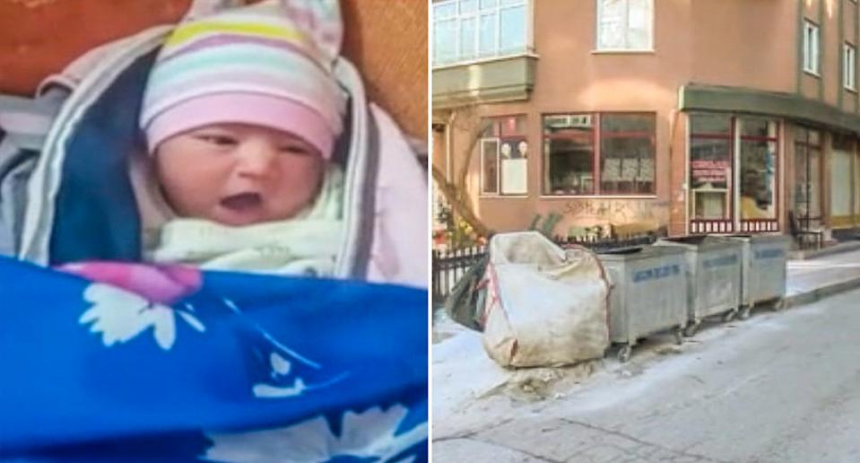 Pictured left is the one-week-old baby and on right are the rubbish bins in Samsun where she was found.