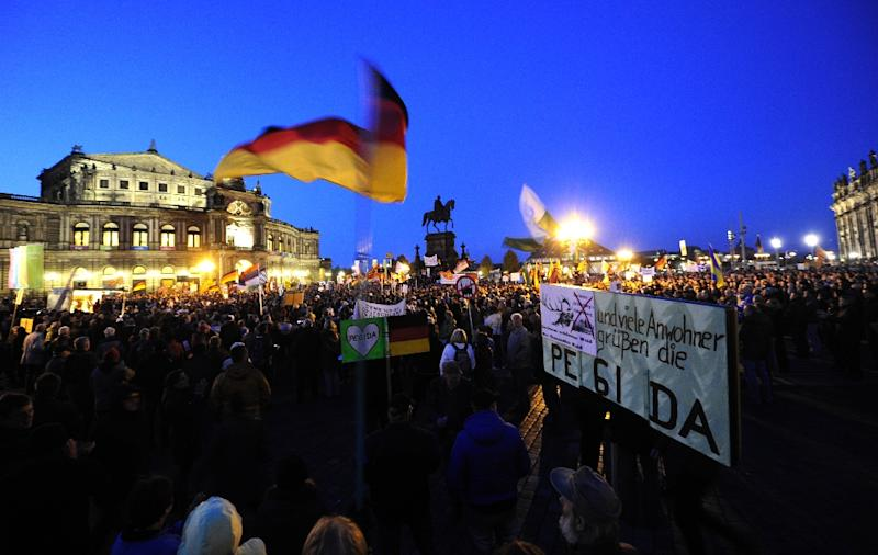 Radicalised by Germany's record influx of refugees and migrants, the long-dormant protest movement PEGIDA has come back with a vengeance onto the streets of Dresden in the former communist East (AFP Photo/Robert Michael)