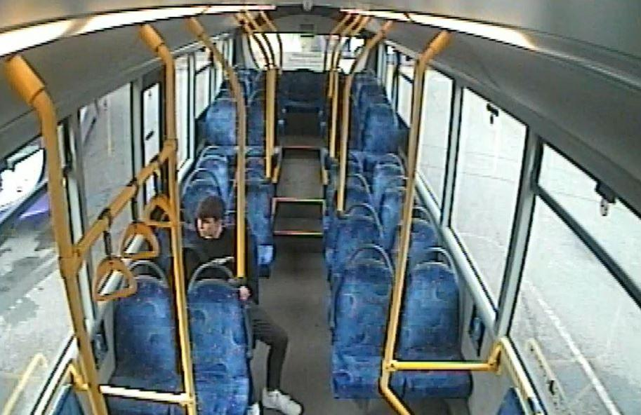 Thomas Griffiths on a bus home after he killed Ellie Gould (PA)