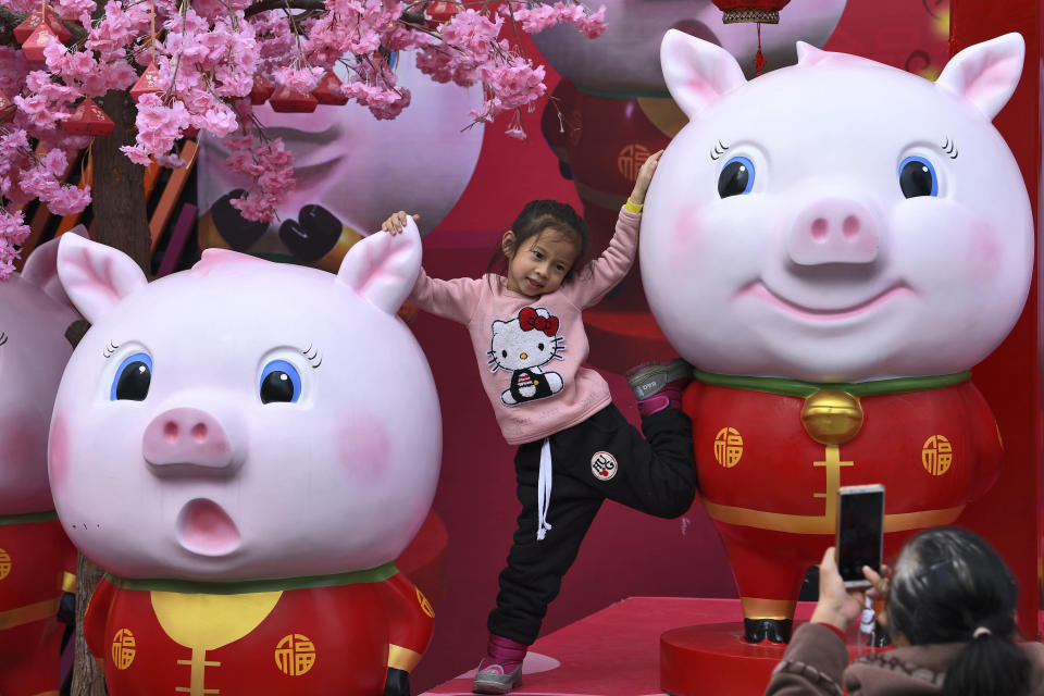 In this Jan. 28, 2019, photo, a Chinese girl poses for a souvenir photo with the cluster of pig sculptures on displayed outside a shopping mall in Nanning in south China's Guangxi Zhuang Autonomous Region. Chinese will celebrate Lunar New Year on Feb. 5 this year which marks the Year of the Pig on the Chinese zodiac. (Chinatopix via AP)