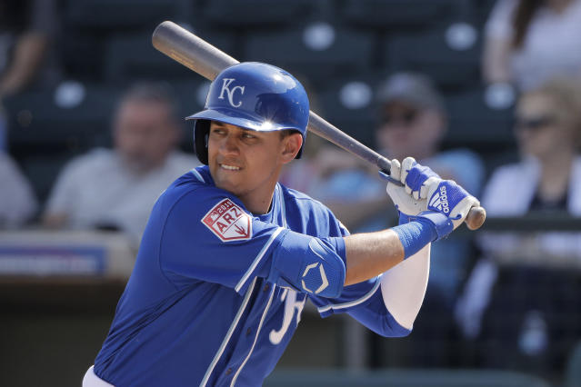 Kansas City Royals' Nicky Lopez bats during the third inning of a spring training baseball game against the San Diego Padres Thursday, Feb. 28, 2019, in Surprise, Ariz. (AP Photo/Charlie Riedel)