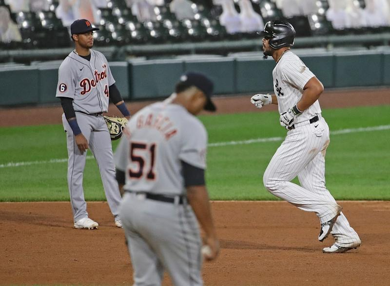 White Sox first baseman Jose Abreu rounds the bases after hitting a three run home run off Rony Garcia in the fifth inning at Guaranteed Rate Field on Sept. 12, 2020, in Chicago.