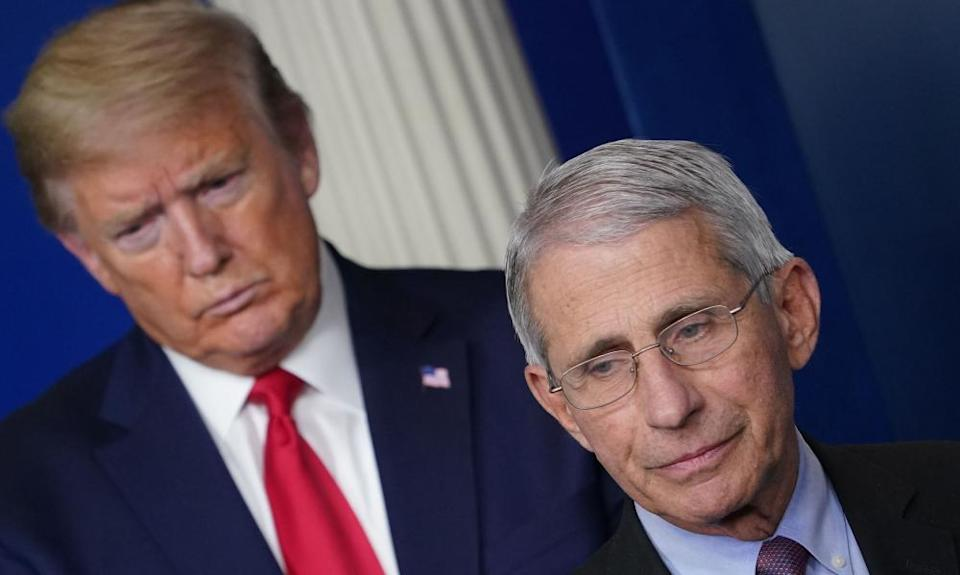 Trump and Fauci in April.