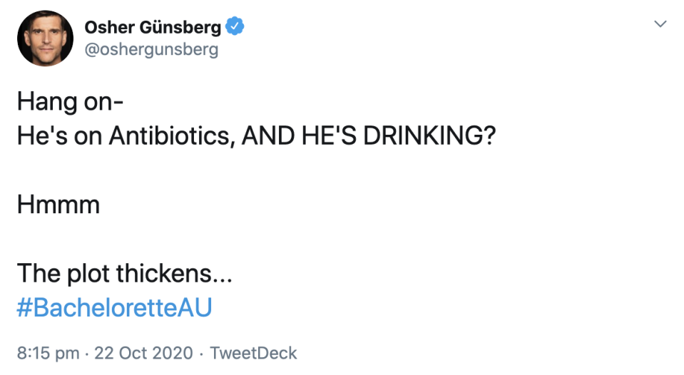 Osher and other viewers were confused to see Adrian drinking in a hot tub after saying he was on antibiotics. Photo: Twitter