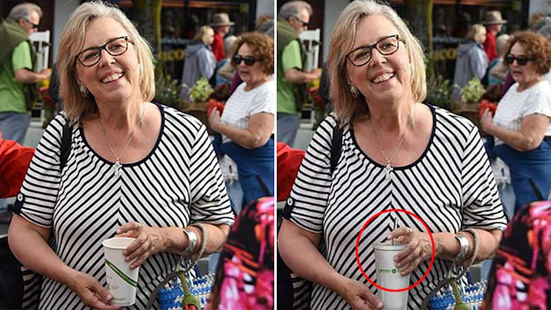 Green party leader Elizabeth May photoshop before and after.