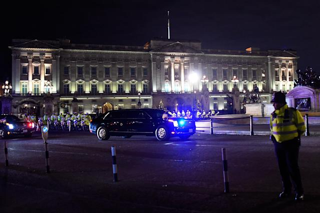 The President's motorcade outside the Palace. (Getty)