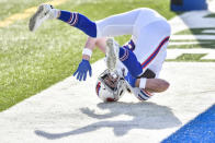 Buffalo Bills tight end Dawson Knox (88)catches a touchdown pass to score during the first half of an NFL football game against the Los Angeles Chargers, Sunday, Nov. 29, 2020, in Orchard Park, N.Y. (AP Photo/Adrian Kraus)
