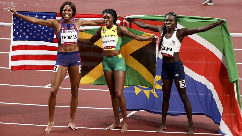 Gabby Thomas, Elaine Thompson-Herah and Christine Mboma, pictured here celebrating after the 200m final.