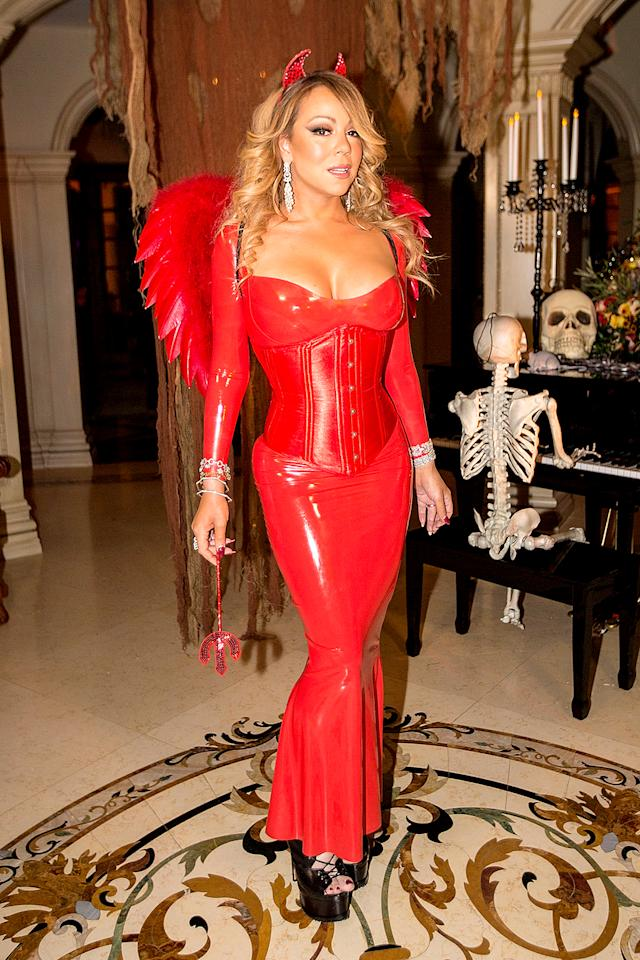 "<p>The diva was red hot in a sexy devil costume at <a rel=""nofollow"" href="" https://www.yahoo.com/celebrity/mariah-carey-dresses-sexy-devil-210000209.html "">her annual Halloween party,</a> but she didn't change up her look too much. As always, Carey had plenty of cleavage on display. (Photo: FilmMagic/FilmMagic) </p>"