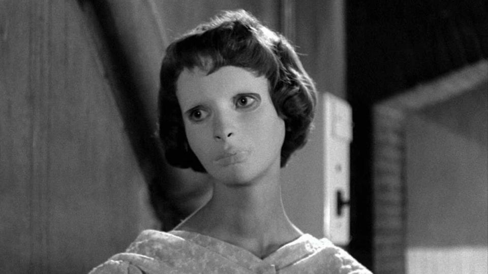 Iconic despite her best known role being beneath a mask, Scob was the disfigured daughter in 1960 horror classic <em>Eyes Without a Face</em>. In her later career, she was twice nominated for a César Award. She passed away on 26 June. (Credit: Lux Film)