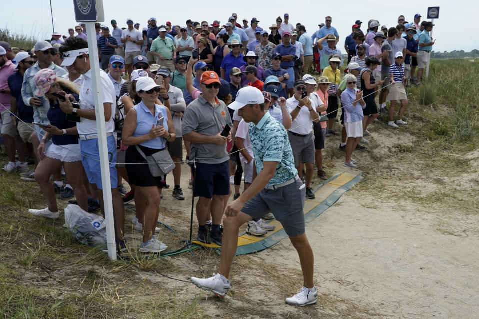 Jordan Spieth walks to the tee on the 17th hole during a practice round at the PGA Championship golf tournament on the Ocean Course Tuesday, May 18, 2021, in Kiawah Island, S.C. (AP Photo/Matt York)
