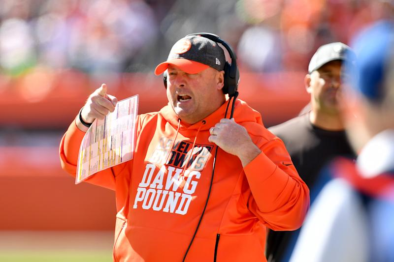 CLEVELAND, OHIO - OCTOBER 13: Head coach Freddie Kitchens of the Cleveland Browns yells to his players during the first quarter against the Seattle Seahawks at FirstEnergy Stadium on October 13, 2019 in Cleveland, Ohio. (Photo by Jason Miller/Getty Images)