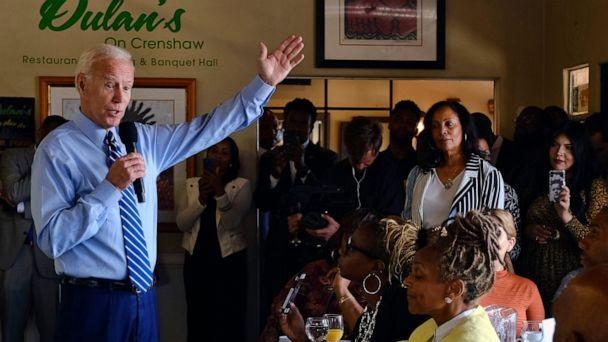 Democratic presidential candidate former Vice President Joe Biden speaks to community faith leaders after serving breakfast during a visit to Dulan's Soul Food on Crenshaw, Thursday, July 18, 2019, in Los Angeles. (The Associated Press)