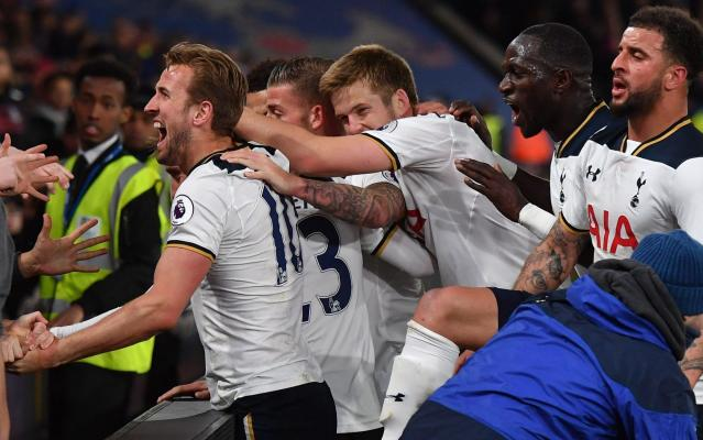 <span>Spurs players celebrate with their fans after Christian Eriksen's second-half winner</span> <span>Credit: Getty Images </span>