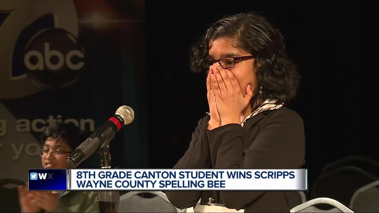A metro Detroit 8th grader is on her way to the Scripps National Spelling Bee in Washington D.C. after winning the Scripps Wayne County Spelling Bee on Saturday.  Pragya Choudhary, from the Canton Charter Academy, beat out 60 other students during Saturday's event at the Charles H. Wright Museum.  7 Action News Reporter Ameera David also served as a judge during the bee.  Pragya tells us she has dreamed about taking the title since she was in 5th grade.  We wish her the best of luck in Washington!