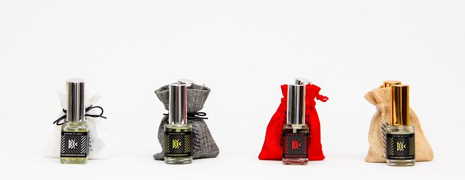 """<h2>Butter By Keba</h2><br>After embarking on an educational tour through Ancient Egypt, NYC realtor Makeba Guilan Lloyd fell in love with the history of fragrance and began immersing herself in the study of aromatherapy and natural perfumery. Soon, Butter By Keba, a lightly fragranced line of body products and perfumes, was born. Made with essential oils and cane alcohol, these colognes are free of parabens and phthalates, and leave skin soft and lightly fragranced — whether you prefer a crisp citrus scent or a creamy spice blend.<br><br><br><strong>Butter By Keba</strong> , $, available at <a href=""""https://go.skimresources.com/?id=30283X879131&url=https%3A%2F%2Fbutterbykeba.com%2Fcollections%2Fchateau%2Fproducts%2Ftravel-eau-de-cologne-5oz-the-egyptia-collection"""" rel=""""nofollow noopener"""" target=""""_blank"""" data-ylk=""""slk:Butter By Keba"""" class=""""link rapid-noclick-resp"""">Butter By Keba</a>"""