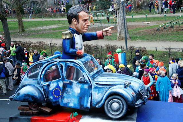 "<p>A carnival float depicting French President Emmanuel Macron at the traditional ""Rosenmontag"" Rose Monday carnival parade in in Mainz, Germany, Feb. 12, 2018. (Photo: Ralph Orlowski/Reuters) </p>"