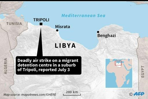 Map showing Tripoli, Libya where an air strike on a migrant detention centre left at least 40 people dead