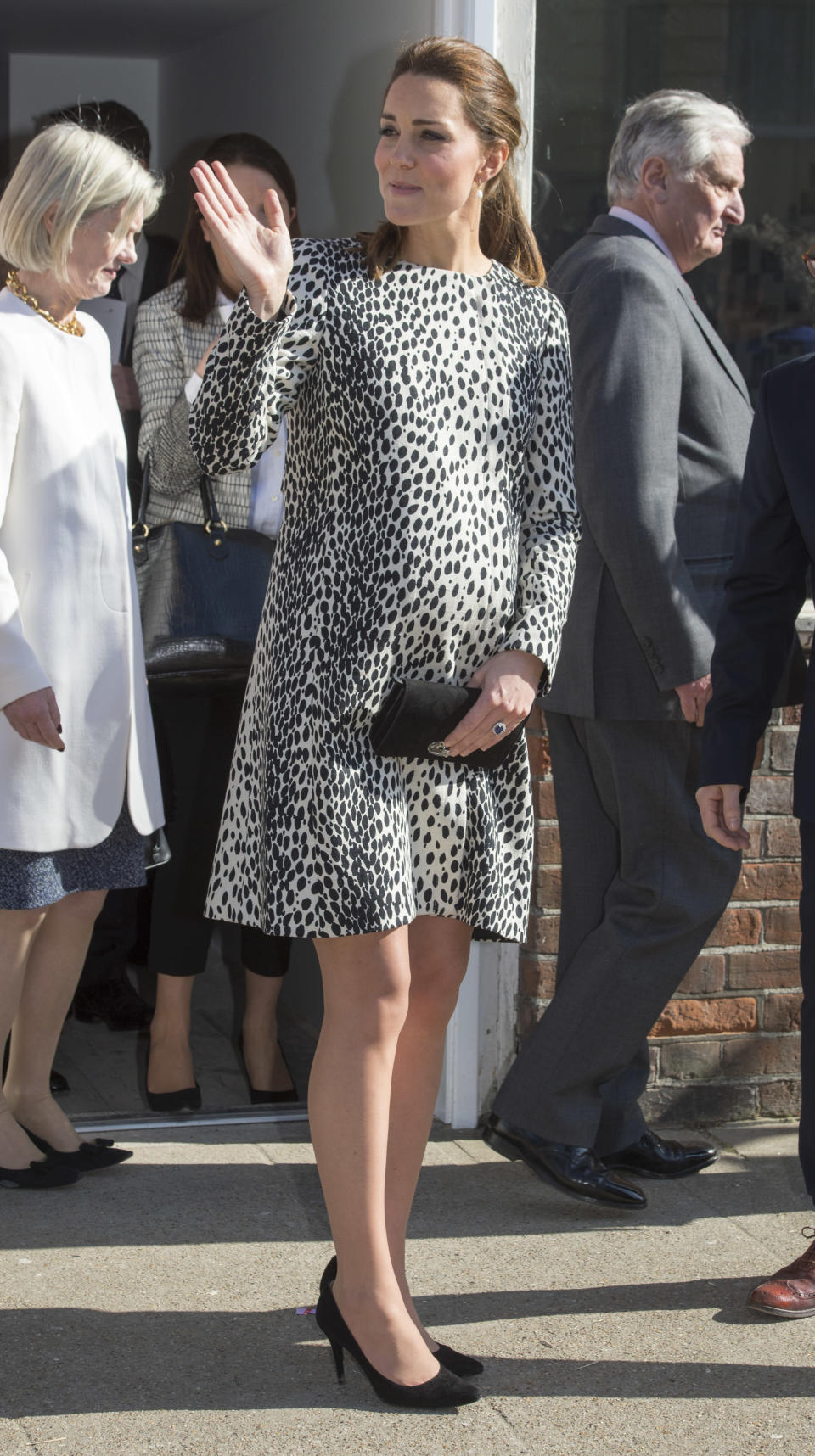 <p>On March 11, 2015 the Duchess visited the Turner gallery in Margate decked in a leopard print coat by Hobbs. The Duchess of Cambridge accessorised the look with a black Mulberry clutch. <em>[Photo: Getty]</em> </p>
