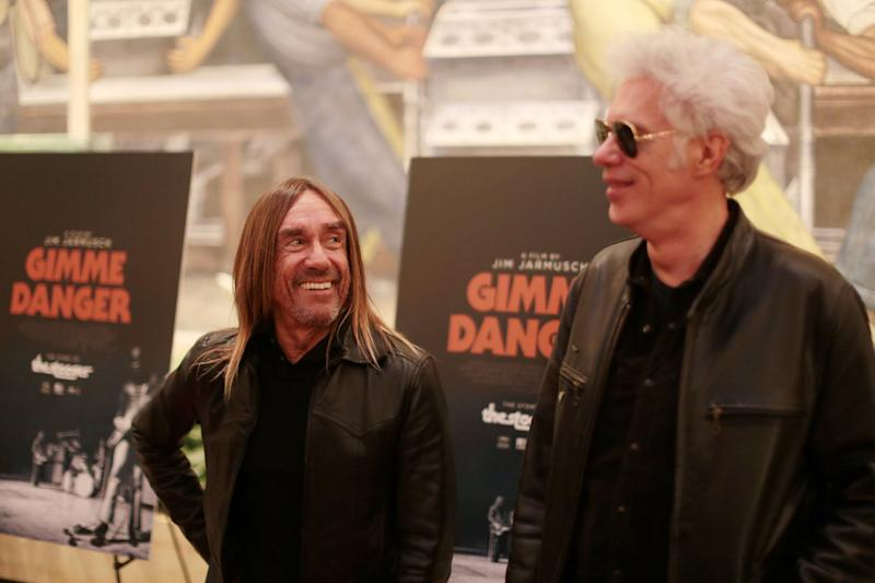 Director Jim Jarmusch and Iggy Pop walk the red carpet before the screening of Jarmusch's new Stooges documentary 'Gimme Danger' at the Detroit Film Theatre at the Detroit Institute of Arts on Tuesday October 25, 2016.