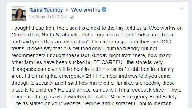 Ms Toomey's complaint on the Woolworths Facebook page. Source: Facebook