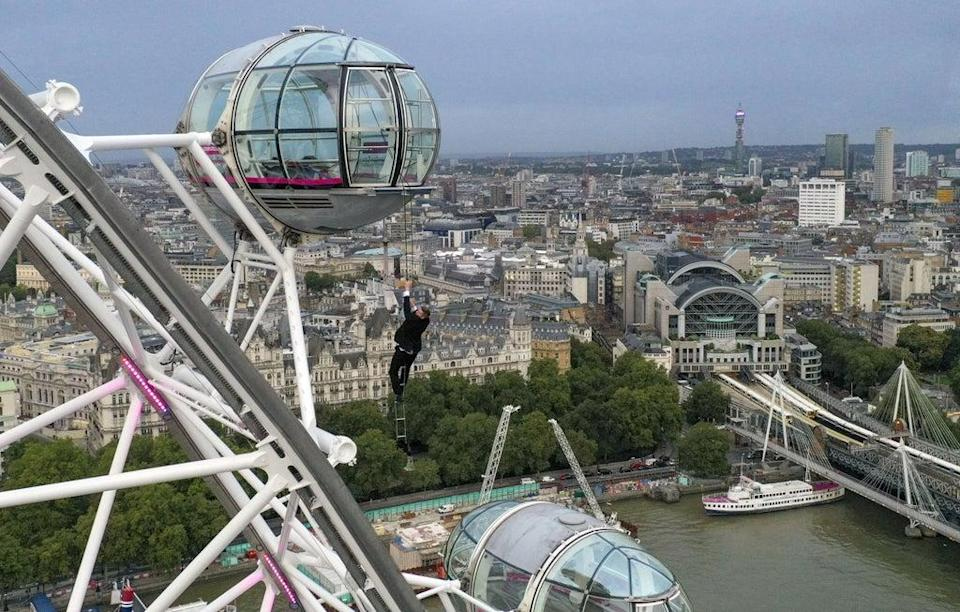 The stunt was performed hours before the world premiere (Steve Parsons/PA) (PA Wire)