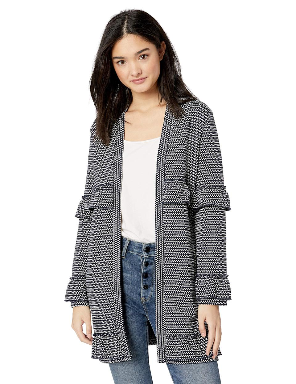 "<br><br><strong>Jack</strong> Jack by BB Dakota Womens Ready to Ruffle Knit Coat, deep navy medium, $, available at <a href=""https://amzn.to/2pyHPs6"" rel=""nofollow noopener"" target=""_blank"" data-ylk=""slk:Amazon"" class=""link rapid-noclick-resp"">Amazon</a>"