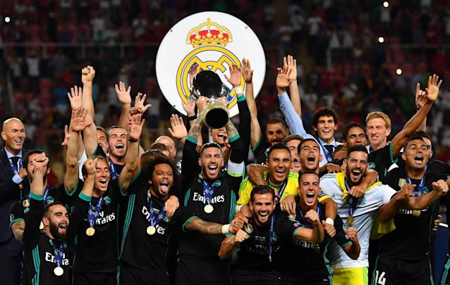 "<a class=""link rapid-noclick-resp"" href=""/soccer/teams/real-madrid/"" data-ylk=""slk:Real Madrid"">Real Madrid</a> became the eighth Spanish team in nine years to lift the UEFA Super Cup. (Getty)"