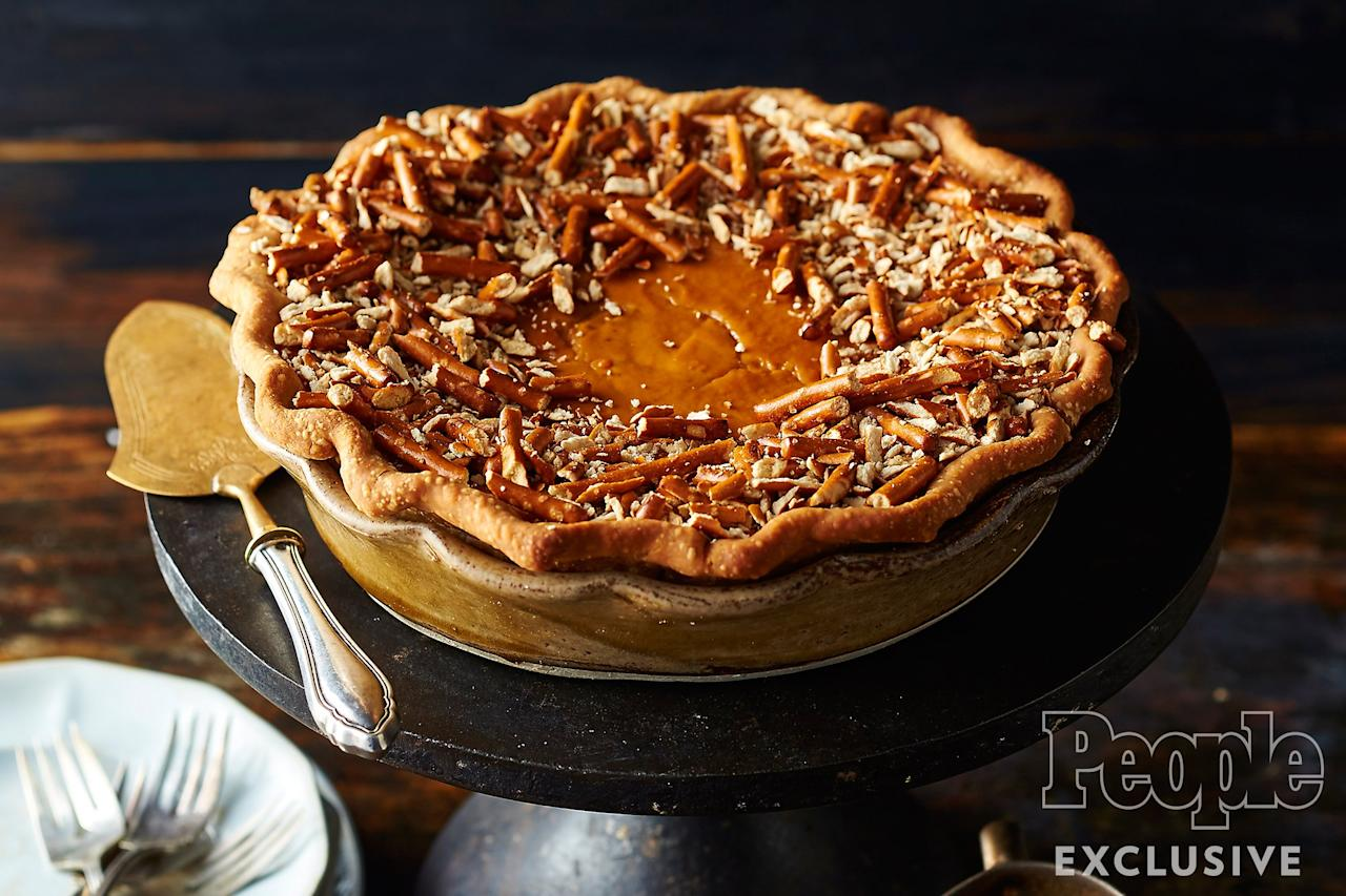 "Who needs fancy decorating skills when you can top your pie with toasted pretzel crumbs? The salty-sweet result is a showstopping end to your meal.  Get the recipe <a href=""http://people.com/food/sam-mason-pumpkin-pretzel-pie-thanksgiving-recipe/"">HERE</a>."