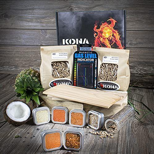 """<p><strong>Kona</strong></p><p>amazon.com</p><p><strong>$59.99</strong></p><p><a href=""""https://www.amazon.com/dp/B098K7HYBS?tag=syn-yahoo-20&ascsubtag=%5Bartid%7C10070.g.964%5Bsrc%7Cyahoo-us"""" rel=""""nofollow noopener"""" target=""""_blank"""" data-ylk=""""slk:Shop Now"""" class=""""link rapid-noclick-resp"""">Shop Now</a></p><p>Thrill a griller with this comprehensive grillers box set, which comes packed with six unique seasonings, three wood grilling planks, a smoker tube, smoking pellets, and a few other goodies. </p>"""