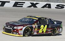 Jeff Gordon pulls pulls down to the pits during practice at Texas Motor Speedway in Fort Worth, Texas, Friday, Oct. 31, 2014, for Sunday's NASCAR Sprint Cup auto race. (AP Photo/Larry Papke )
