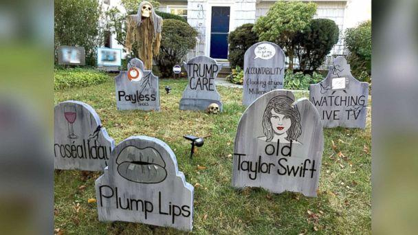 PHOTO: Michael Fry's gravestones say 'so long' to 'old' Taylor Swift and plump lips. (Michael Fry)