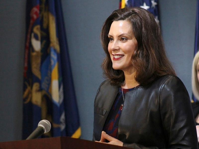 Michigan Gov. Gretchen Whitmer addresses the state during a speech in Lansing on May 1.